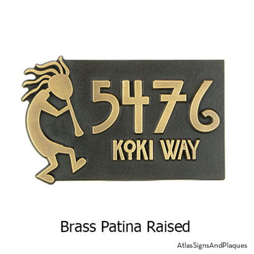 Brass finish on our Kokopelli Address Plaque