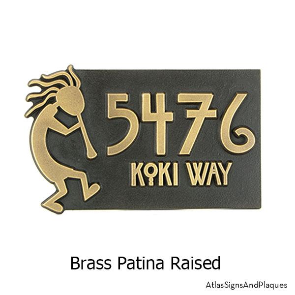 Brass finish on our Kokopelli Address Plaque