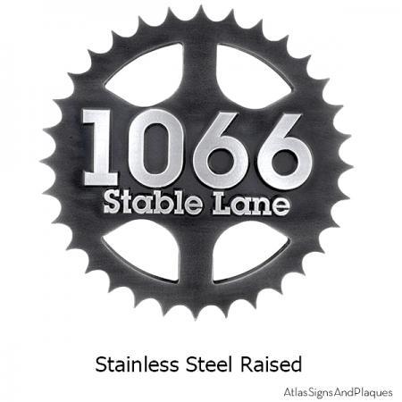 Stainless Steel Sprocket Address Plaque