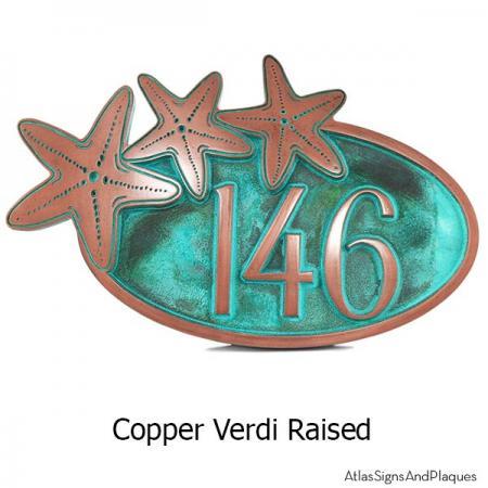 Starfish Oval Plaque - Copper Verdi