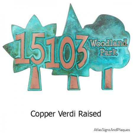 Trio of Trees Address Plaque - Copper Verdi