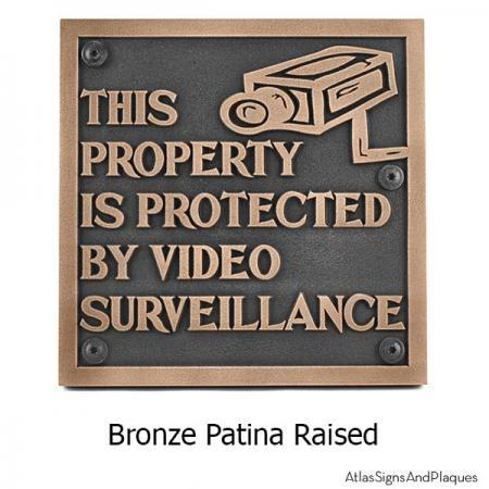Under Video Surveillance Sign - Bronze Shown with Optional T30 Screws
