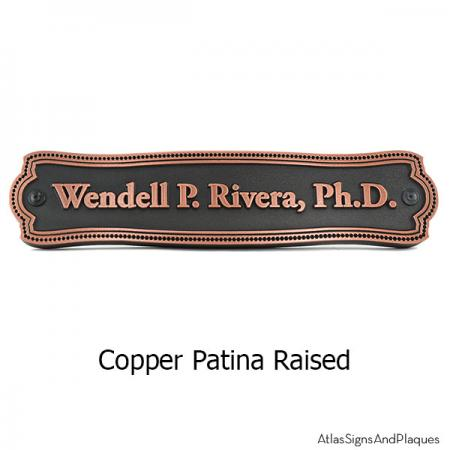 Victorian Name Plaque - Copper Shown with Optional T30 Screws