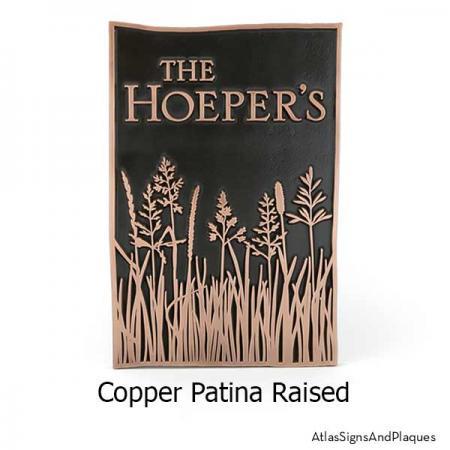 Tall Grass Prairie Sign shown in Copper