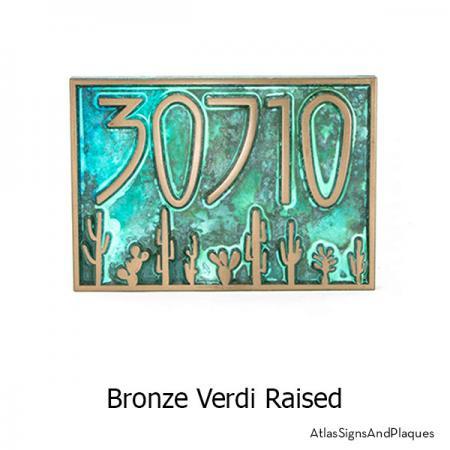 Bronze Verdi finish on our Sonoran Desert Address Plaque