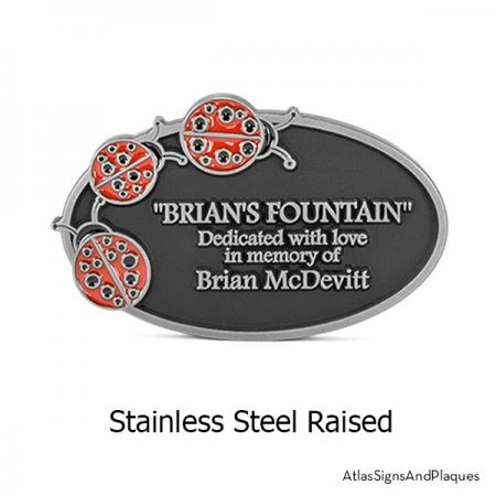Stainless Steel Ladybugs on an Oval Plaque