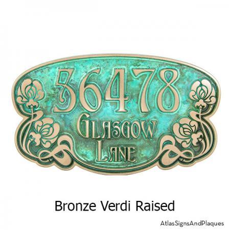 Art Nouveau Rose Plaque in our Bronze Verdi