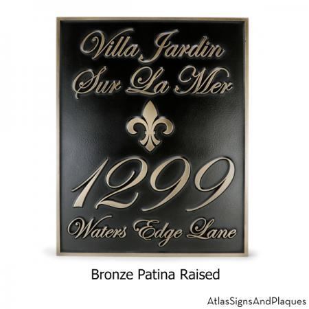 Fleur De Lis Villa Address Plaque with Elegant Numbers