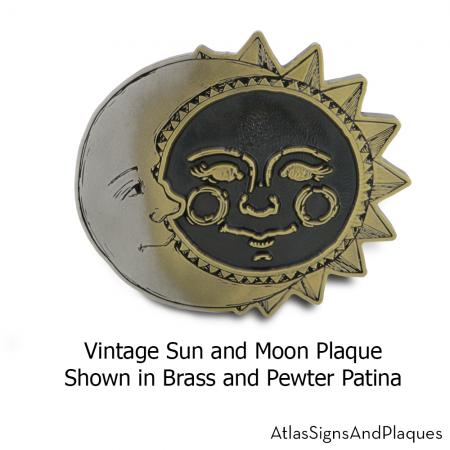 vintage moon and sun plaque
