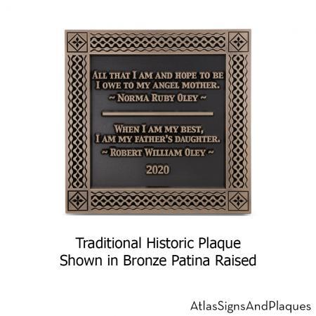 traditional historic plaque