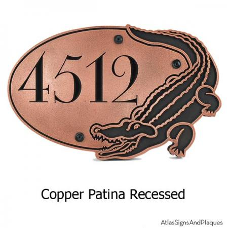 Alligator Address Plaque - Copper