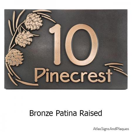Pine Cone Address Plaque - Bronze