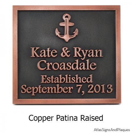 Anchors Away Wedding Plaque - Copper