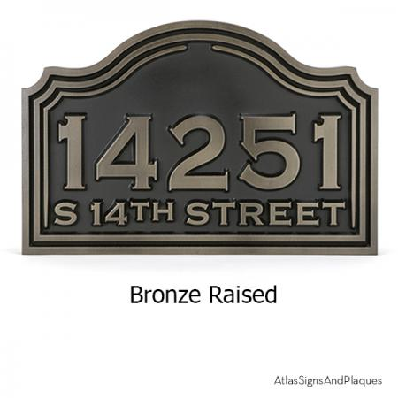 Classic Arch Address Plaque in Bronze Metal Coat with Raised Lettering