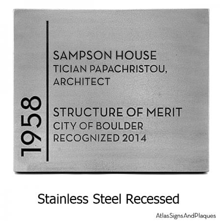 Building Recognition Plaque Stainless Steel