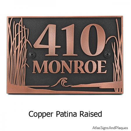 Sea Shore Address Plaque - Copper
