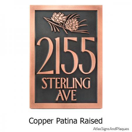 Conifer Cone Address Plaque - Copper