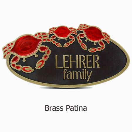 Crab Oval Plaque - Brass Shown with Optional Painted Crabs