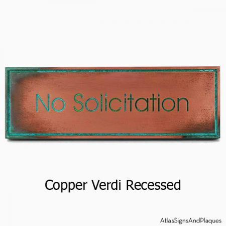 Modern Advantage No Solicitation Sign - Copper Verdi