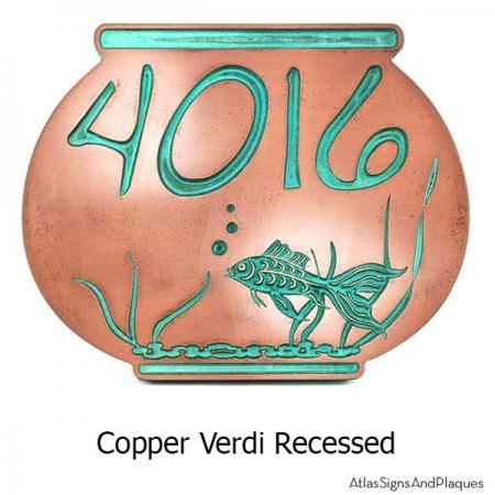 Fish Bowl Address Plaque - Copper Verdi