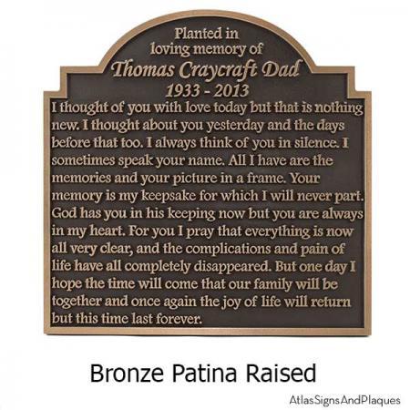 Garden Memorial Plaque - Bronze