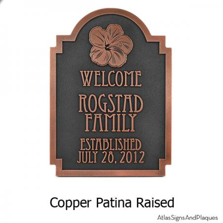 Hawaiian Hibiscus Historic Plaque - Copper