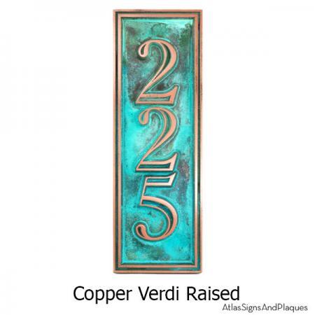 Hesperis Vertical Address Plaque - Copper Verdi