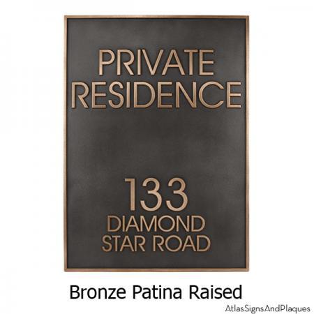 Modern Estate Address Sign - Bronze