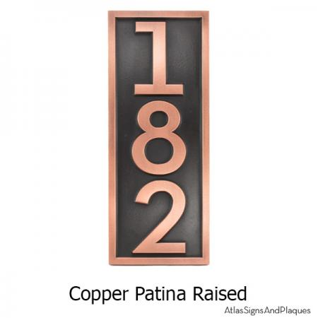 Neutraface Vertical House Numbers with Border- Copper
