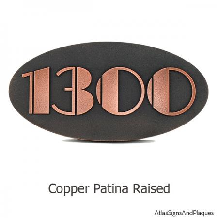Oval Art Deco Address Plaque - Copper