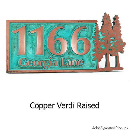 Pine Trees Up North Address Plaque - Copper Verdi .1