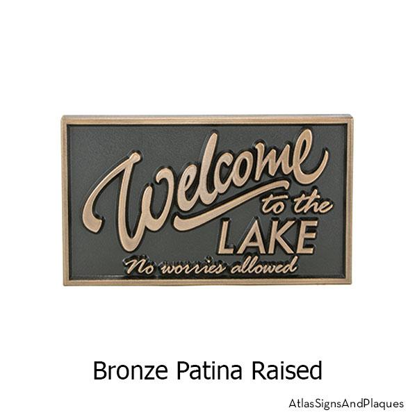 No Worries Lake Sign, Raised, Bronze