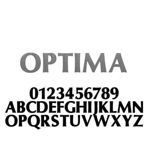 Optima Font Metal Letters & Numbers