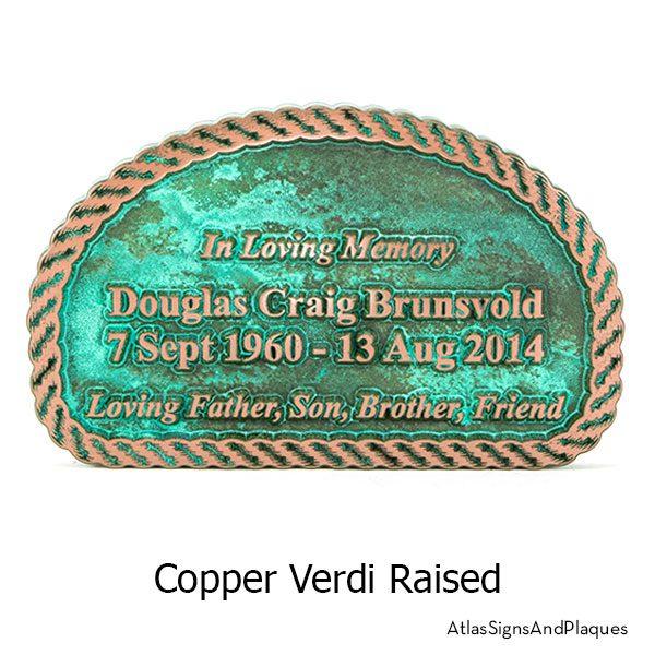 Copper Verdi finish on our Rope Memorial Sign