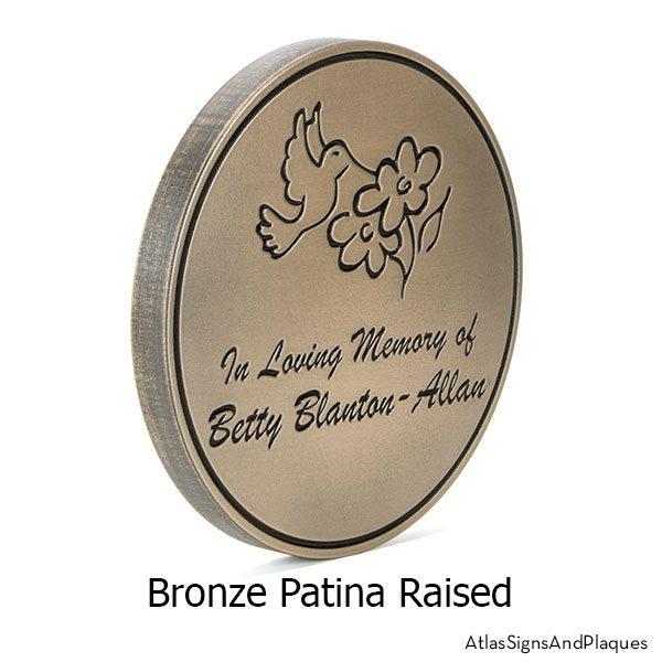 Round Humming Bird Memorial Plaque, Recessed, Bronze