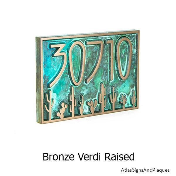 Sonoran Desert Address Plaque shown in Bronze Verdi
