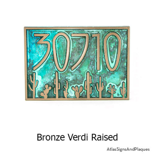 Bronze Verdi finish on our Sonoran Desert Address Plaque