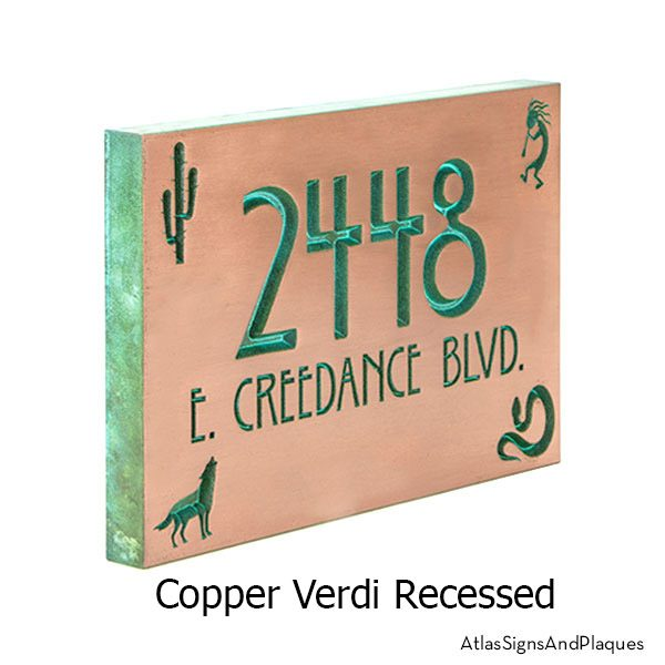 Copper Verdi Southwestern Address Plaque