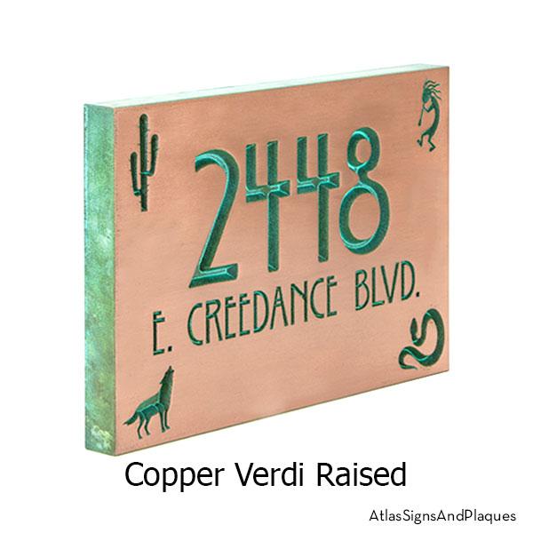 Copper Verdi Southwestern Address Plaque