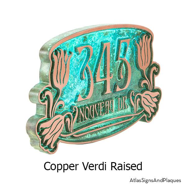 Raised text, Copper Verdi Tulip Bud Home Numbers Sign
