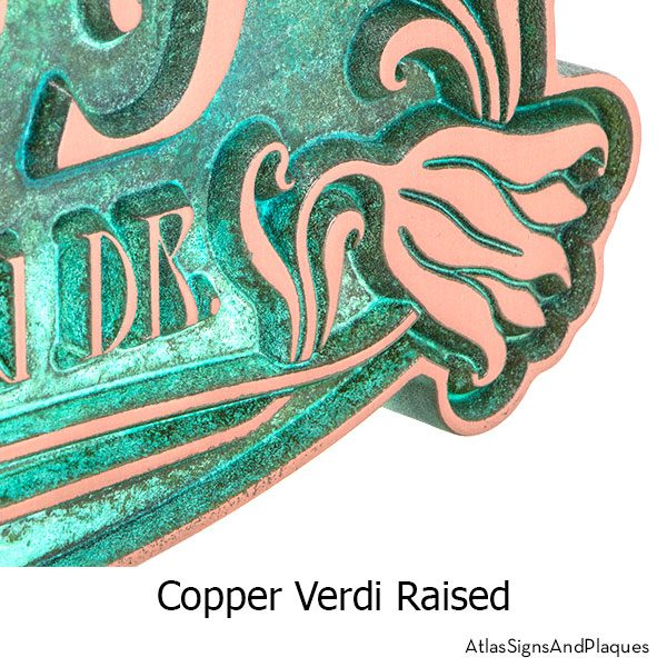 Copper Verdi finish on the Tulip Bud Home Numbers Sign