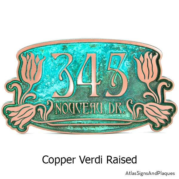 Tulip Bud Home Numbers Sign in our Copper Verdi finish