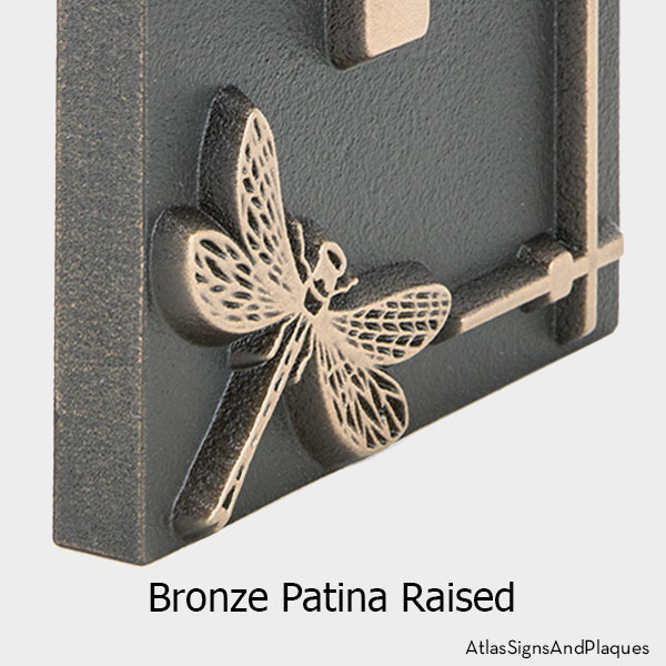 Vertical Dragonfly House Number Sign, Raised, Bronze